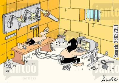 in prison cartoon humor: Torture Chamber.