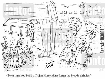 centurions cartoon humor: Next time you build a Trojan Horse,don't forget the bloody airholes.