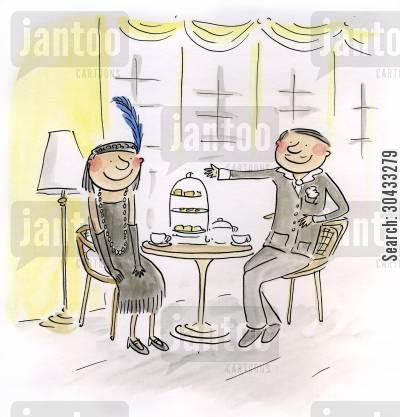 teatime cartoon humor: 1920's High Tea.