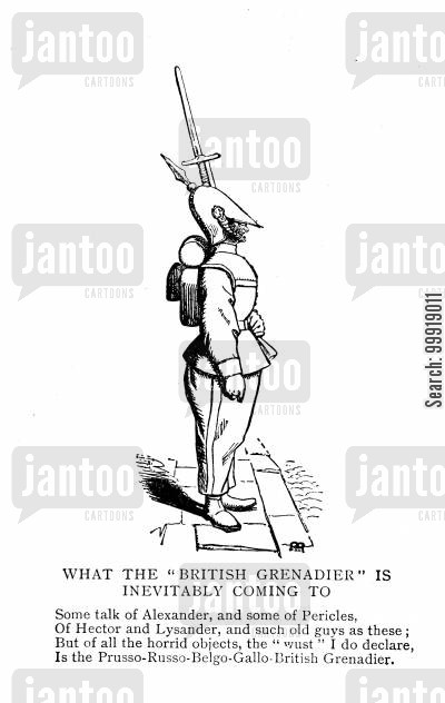 professional soldier cartoon humor: British Grenadier