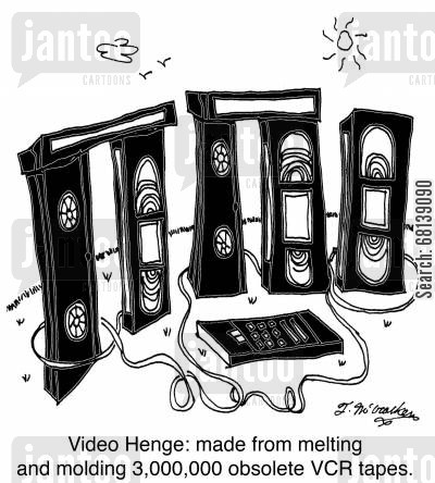 blu-ray cartoon humor: Video Henge: made from melting and molding 3,000,000 obsolete VCR tapes.