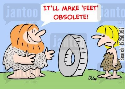 invent the wheel cartoon humor: 'It'll make 'feet' obsolete!'