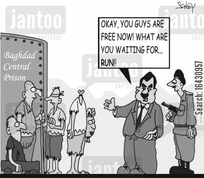 prisoner of war cartoon humor: Okay, you guys are free now! What are you waiting for... run!!