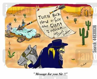 covered wagon cartoon humor: 'Turn back now or face the giant indian!'