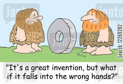 mass destruction cartoon humor: 'It's a great invention, but what if it falls into the wrong hands?'