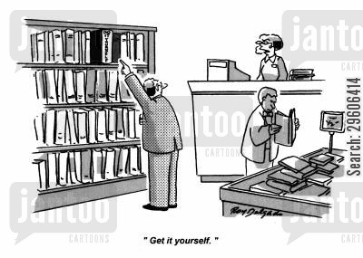 ladders cartoon humor: 'Get it yourself.'