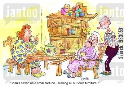 soft furnishings cartoon humor: 'Brian's saved us a small fortune...making all our own furniture!'