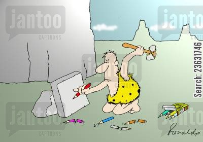 stone cartoon humor: Caveman tries to carve using a pencil.