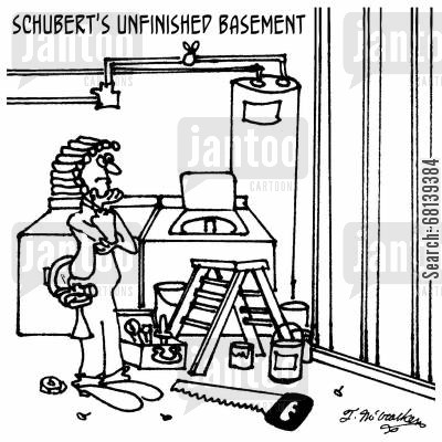 symphony cartoon humor: Schubert's Unfinished Basement