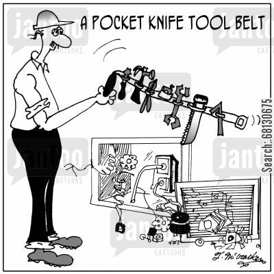 repair man cartoon humor: A Pocket Knife Tool Belt.