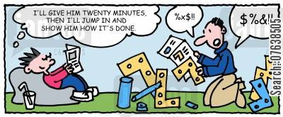 generation gaps cartoon humor: 'I'll give him twenty minutes, then jump in and show him how its done.'