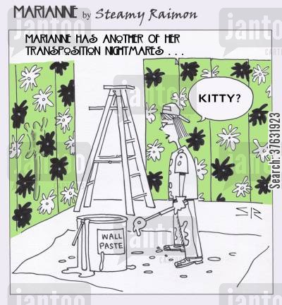 redecorating cartoon humor: Marianne and home improvements