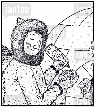 frigid cartoon humor: An EskimoInuit gluing back a piece of broken Igloo with some special glue for Igloos