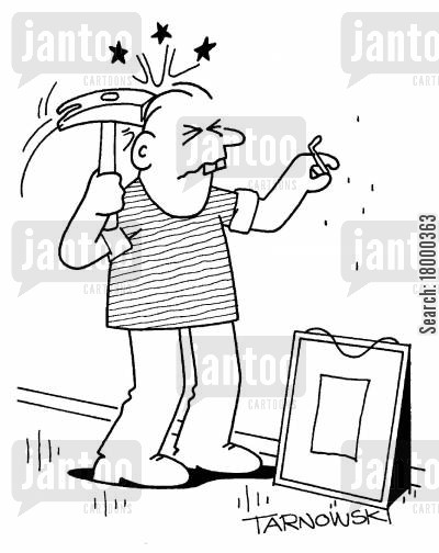 dumb cartoon humor: Man hitting himself in the head with a hammer.