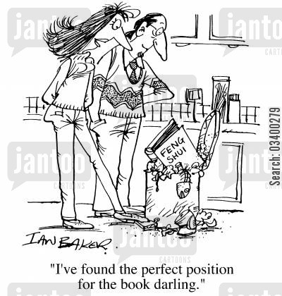 garbage bin cartoon humor: Feng Shui - I've found the perfect position for the book, darling.