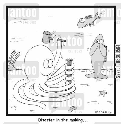 hit fingers cartoon humor: 'Disaster in the making...'