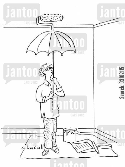 redecorate cartoon humor: Painting the ceiling with a paint roller attached to an umbrella.
