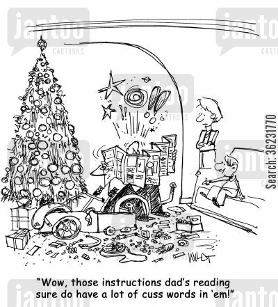 cuss words cartoon humor: Wow, those instructions dad's reading sure do have a lot of cuss words in 'em!