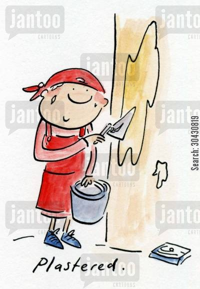plastering cartoon humor: Plastered.