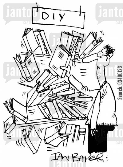 book cartoon humor: DIY Shelves