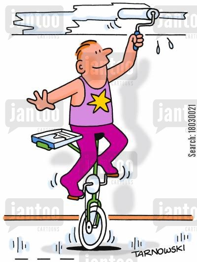 acrobatic cartoon humor: Unicyclist painting a ceiling.