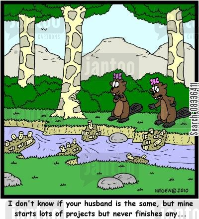damn cartoon humor: 'I don't know if your husband is the same, but mine starts lots of projects but never finishes any...'
