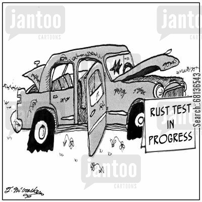 product test cartoon humor: Rust test in progress.