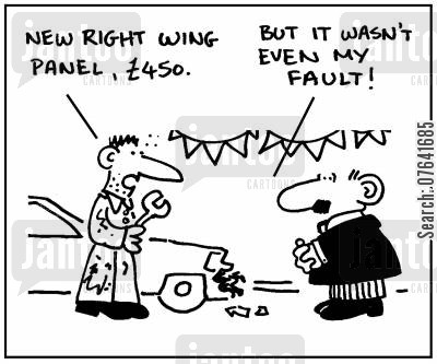 invoices cartoon humor: 'New right wing panel, £450.'