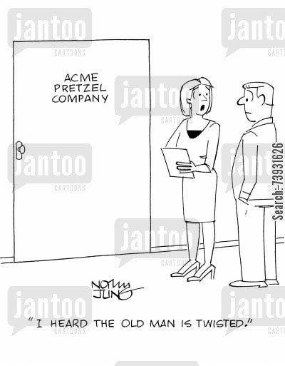 baked goods cartoon humor: 'I heard the old man is twisted.'