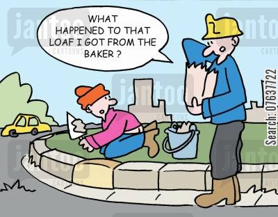 building zones cartoon humor: 'What happened to that loaf I got from the baker?'
