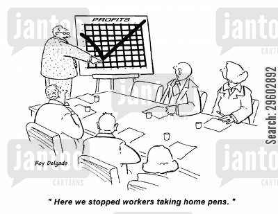 taking liberties cartoon humor: 'Here we stopped workers taking home pens.'