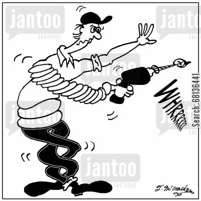 power drills cartoon humor: A man's whole body is twisted after using a power drill.