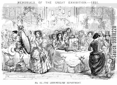 great exhibition 1851 cartoon humor: Memorials of The Great Exhibition - 1851. No. IX. - The looking-glass department.