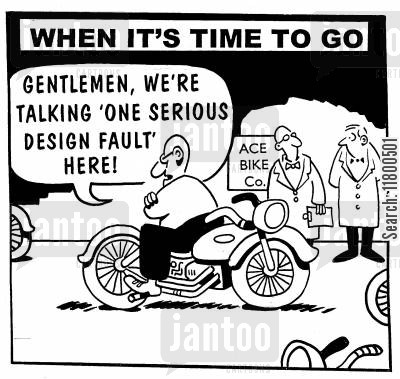 design faults cartoon humor: Gentleman, we're talking one serious design fault here.