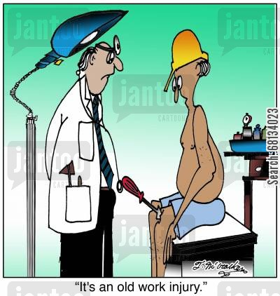 screwdrivers cartoon humor: 'It's an old work injury.'