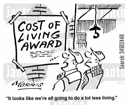 scrimping cartoon humor: It looks like we're going to do a lot less living.