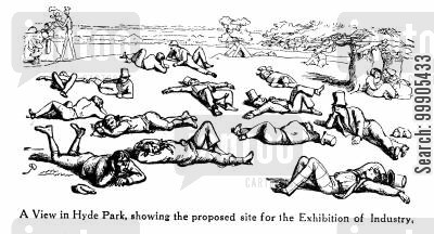 1851 cartoon humor: The Proposed Site for the Exhibition of Industry