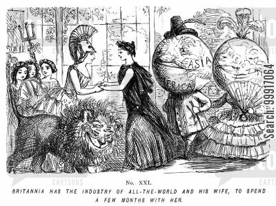 industrial cartoon humor: Memorials of The Great Exhibition - 1851. No. XXI. - Britannia has the industry of all-the-world and his wife, to spend a few months with her