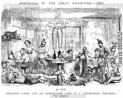 great exhibition 1851 cartoon humor: Memorials of The Great Exhibition - 1851. No. XVII. - Perfidious Albion lets his drawing-room floor to a distinguished foreigner. - The result.