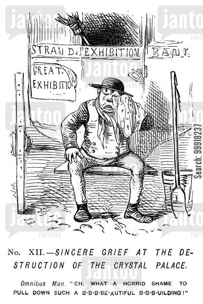 omnibus cartoon humor: Memorials of The Great Exhibition - 1851. No. XII. - Sincere grief at the destruction of the Crystal Palace