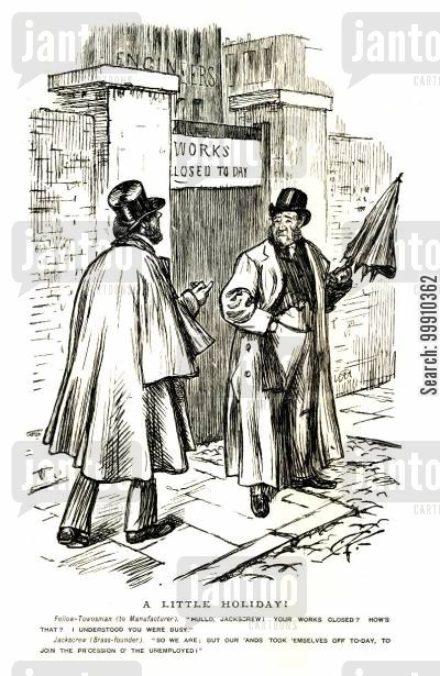 industrial revolution cartoon humor: Manufacturer outside closed works