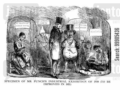 1851 cartoon humor: Specimen of Mr Punch's Industrial Exhibition of 1850 (to be improved in 1851)