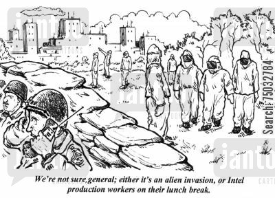 invade cartoon humor: 'We're not sure, general; either it's an alien invasion, or Intel production workers on their lunch break.'