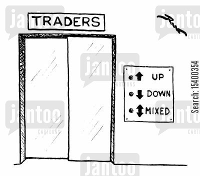 elevator cartoon humor: Traders lift 'Up' 'Down' 'Mixed'