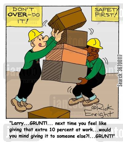 enthusiasm cartoon humor: '...next time you feel like giving that extra 10 percent at work...would you mind giving it to someone else?!...'