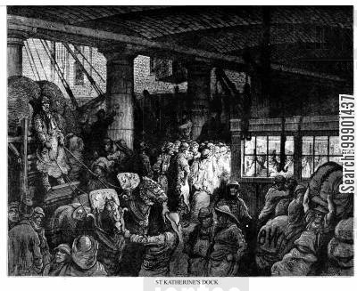 warehouses cartoon humor: Interior at St Catherine's Docks