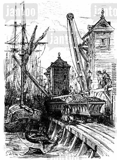 victorian cartoon humor: Coal Trucks at Limehouse