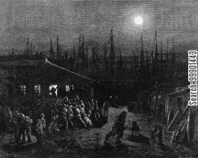 workers cartoon humor: 'The Docks- Night Scene'