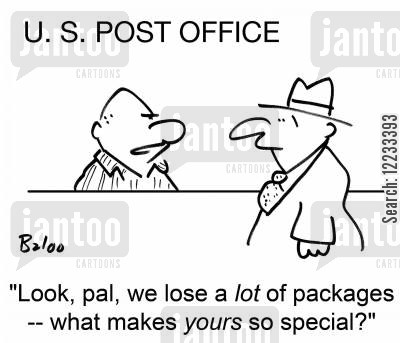 lost parcel cartoon humor: We lose a lot of packages -- what makes yours so special?