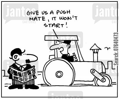 road repairs cartoon humor: 'Give us a push mate, it won't start.'